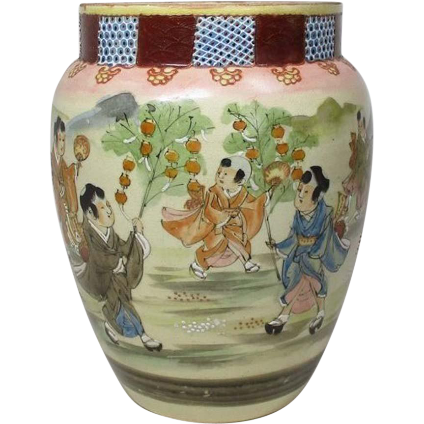 Japanese Antique Kyoto Awata Satsuma yaki Vase Kabin for Ikebana