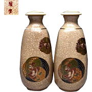 Japanese Vintage Satsuma -yaki  Porcelain Pair of Tokkuri or Sake Bottles