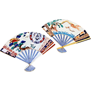 Japanese Vintage Pair of Imari Arita Porcelain Decorative Enameled Wall Fans