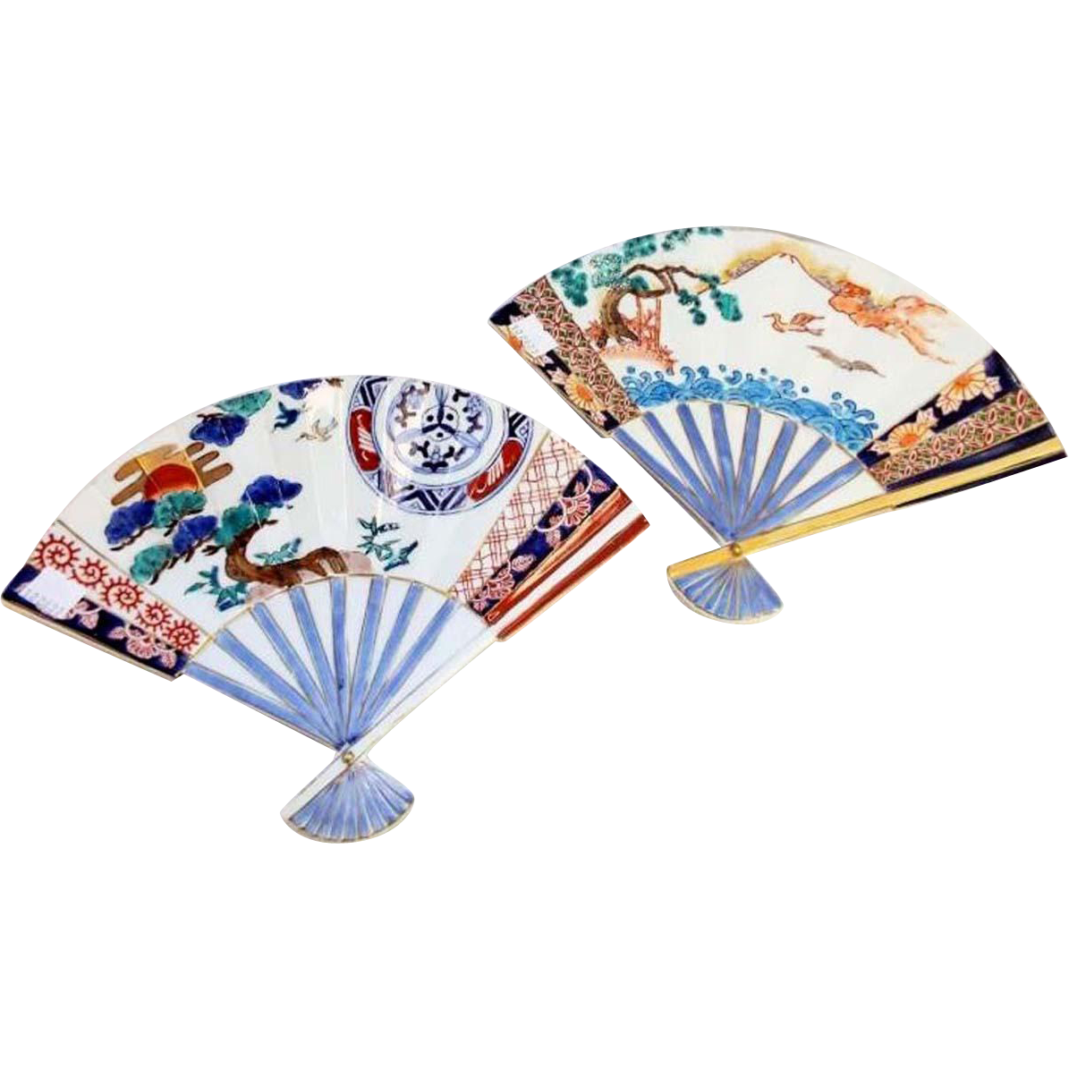 Japanese Vintage Pair of Imari Arita Porcelain Decorative Enameled Wall Fan