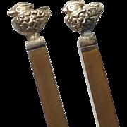Japanese Vintage Hibashi Wooden Tongs Copper Bird Decoration