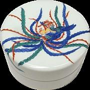 Japanese Vintage Arita Imari Porcelain Phoenix Ink Pad by famous Genemon