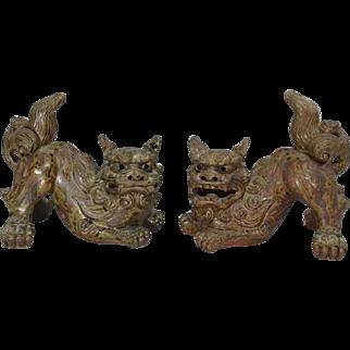 Japanese Vintage Karatsu Pottery Pair of Foo Dogs Okimono Statues
