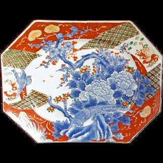 Japanese Antique Imari Porcelain Hexagonal Decorative Platter