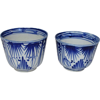 Japanese Antique Imari Porcelain Rare pair Soba-Choko Cup