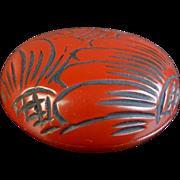 Japanese Vintage Folkcraft Kamakurabori 鎌倉彫 Lacquered Wood Kogo