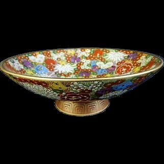 Japanese Vintage Kutani yaki Porcelain Hanazume Pedestal Dish by Famous Shinzan Kiln 新山