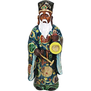 Japanese Antique Kutani Porcelain Okimono of a Chinese Priest with Bronze Temple Bell