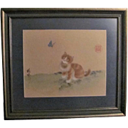 Japanese Vintage Silk Watercolor of a Neko or Kitty Cat and Butterfly Signed