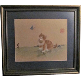 Japanese Vintage Silk Watercolor of a Neko Kitty Cat and Butterfly Signed