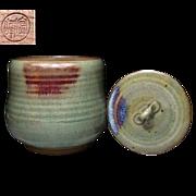 Japanese Vintage Kyoto Pottery Celadon Mizusashi by Masayuki Imai