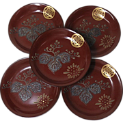 Japanese Antique Set of Five Meimei-zara  Lacquered Wood with a Mother of Pearl Inlay