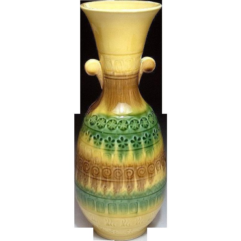 Japanese Retro Style Kyoto Ware Pottery of Three Color Sansai 三彩 Glaze Vase