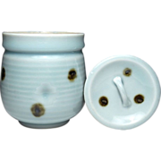 Japanese Kyoto Ware Pottery of a Mizusashi Celadon Glaze Inspired by Spotted Qingbai