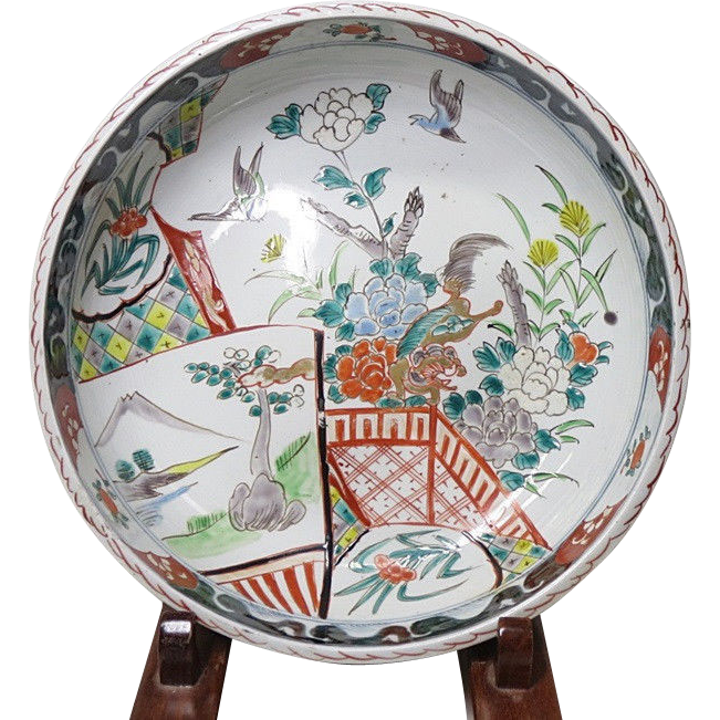 Japanese Antique Ko-Imari Large Karajishi-Botan Bowl 唐獅子牡丹 -