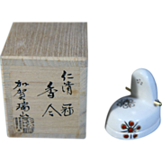 Japanese Antique Unusual Rare Kuwana Banko Kogo of Eboshi by Kaga Zuisan 加賀瑞山,  Intangible Cultural Property