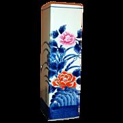 Japanese Vintage Tall  Floral Square Sleeve Vase