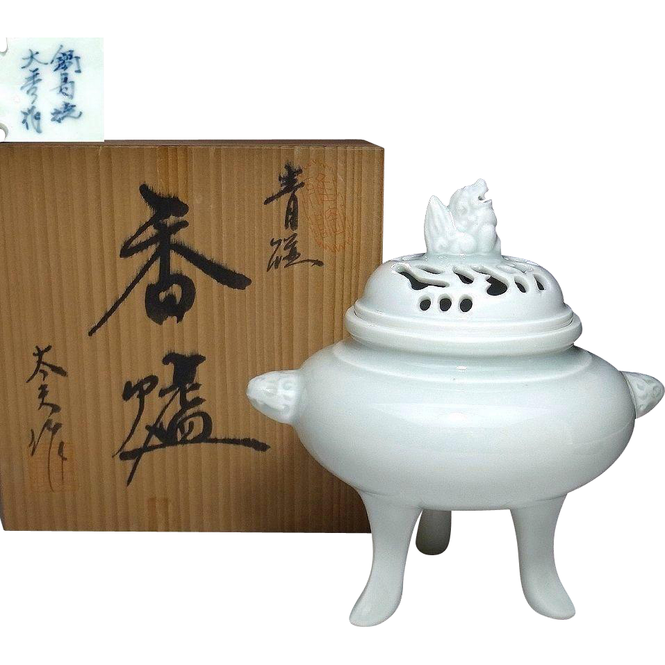 Japanese Nabeshima 鍋島 Vintage Blue Celadon Porcelain Censer or Incense Burner with Foo Dog
