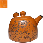 Japanese Vintage Tokoname-yaki 常滑焼 Tea Pot of Carved Flowers