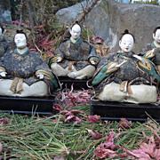 Japanese Antique Hina-Ningyo Girls Day Dolls of Gonin-Bayashi or Court Musicians