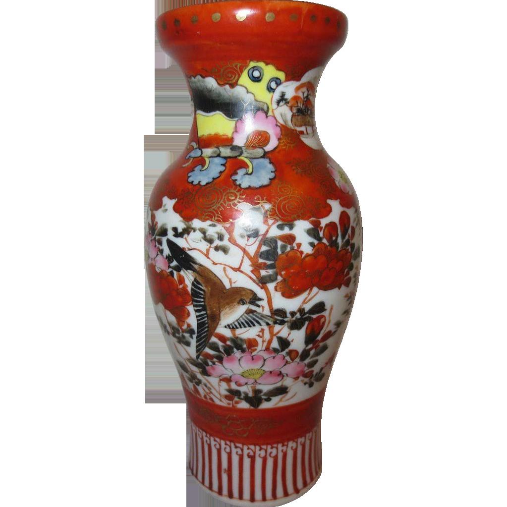 Antique Japanese Colorful Kutani Porcelain Vase Birds and Flowers