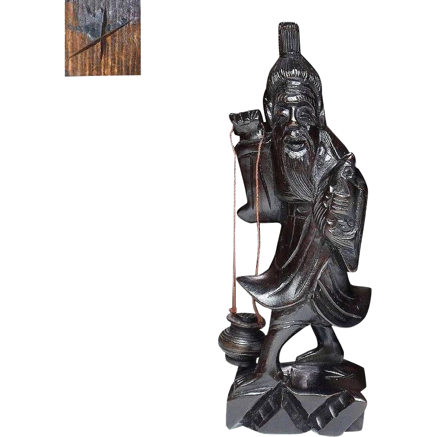 Finely Carved Japanese Vintage Wooden Statue of Hsien with Artist Mark