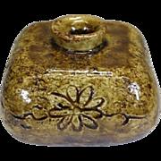 Japanese Vintage Seto Ware 瀬戸焼 Kabin or Flower Vase for Ikebana by Master Potter Human Cultural Asset, Shunto Kato