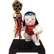 Japanese Vintage Gosho Ningyo Clay Palace Doll of a Young Samurai Child