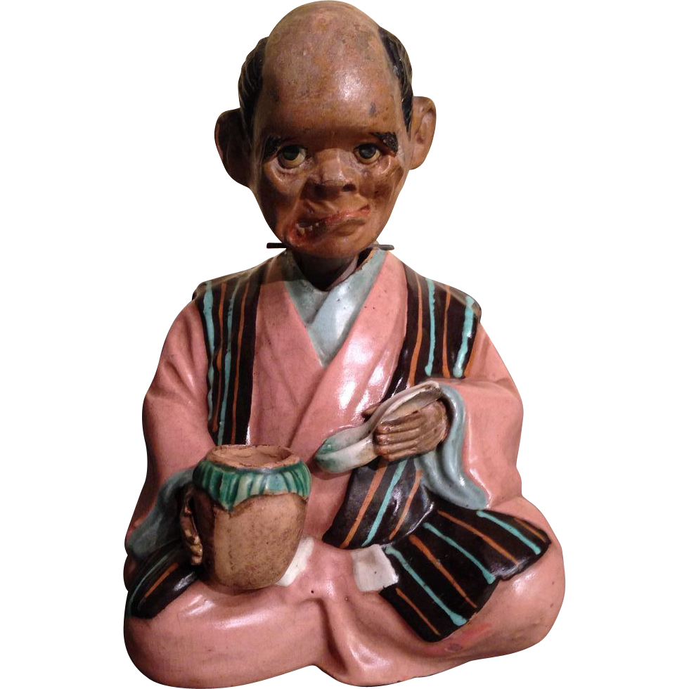 RARE Japanese Antique Nodder Doll of a Man, Noh Character