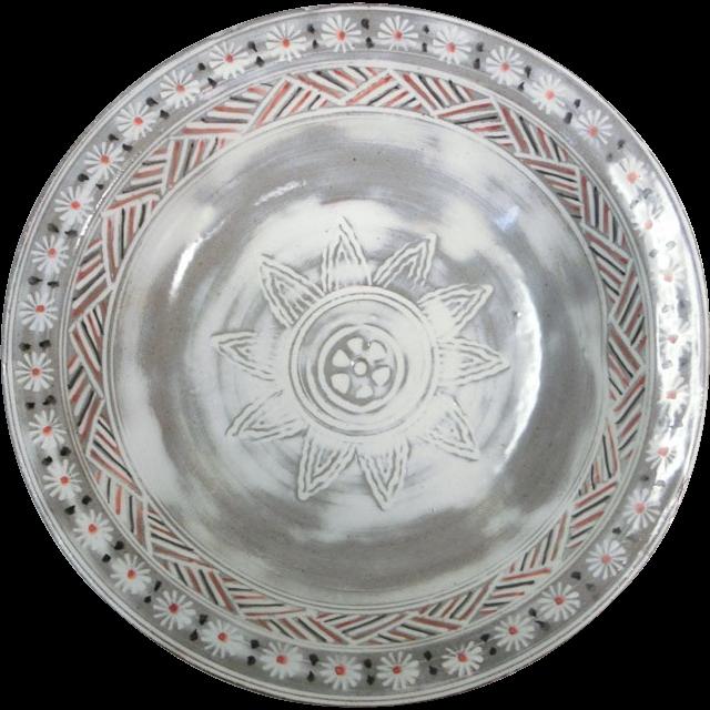 Japanese Kyoto Pottery Kashiki Plate by the Very Famous Rokubei Kiyomizu gama 清水寺