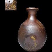 A Japanese Vintage Bizen Ware Pottery Sake Bottle by Famous Bizen Potter Toshirushi