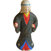 Japanese Tsuchi-Ningyo 土人形  or Folk Art Clay Doll of Yūrei 幽霊 the Samurai  Ghosts