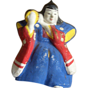 Japanese Tsuchi-Ningyo 土人形  Folk Art Ornament Clay Doll Man Playing Traditional Drum