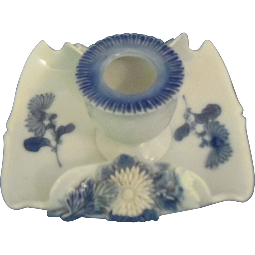 Japanese Antique Hirado 平戸  Porcelain Short Taper Candlestick with Applied Chrysanthemum in Relief