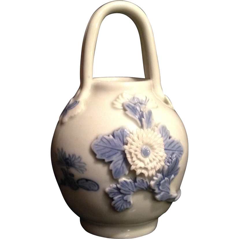 Beautiful Antique Japanese Hirado 平戸  Bucket or  Vase w/ Handle