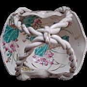 Japanese Antique Awata 粟田 Kyo-yaki 京焼き Kinkozan 錦光山 Porcelain Satsuma Style Basket with Handle in Relief