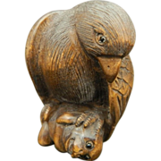 Japanese Vintage Wood Netsuke Hawk on a Monkey