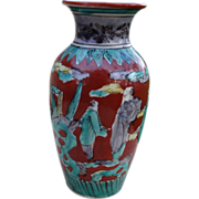 Japanese Antique Kutani Porcelain Vase in the Mokubei Style