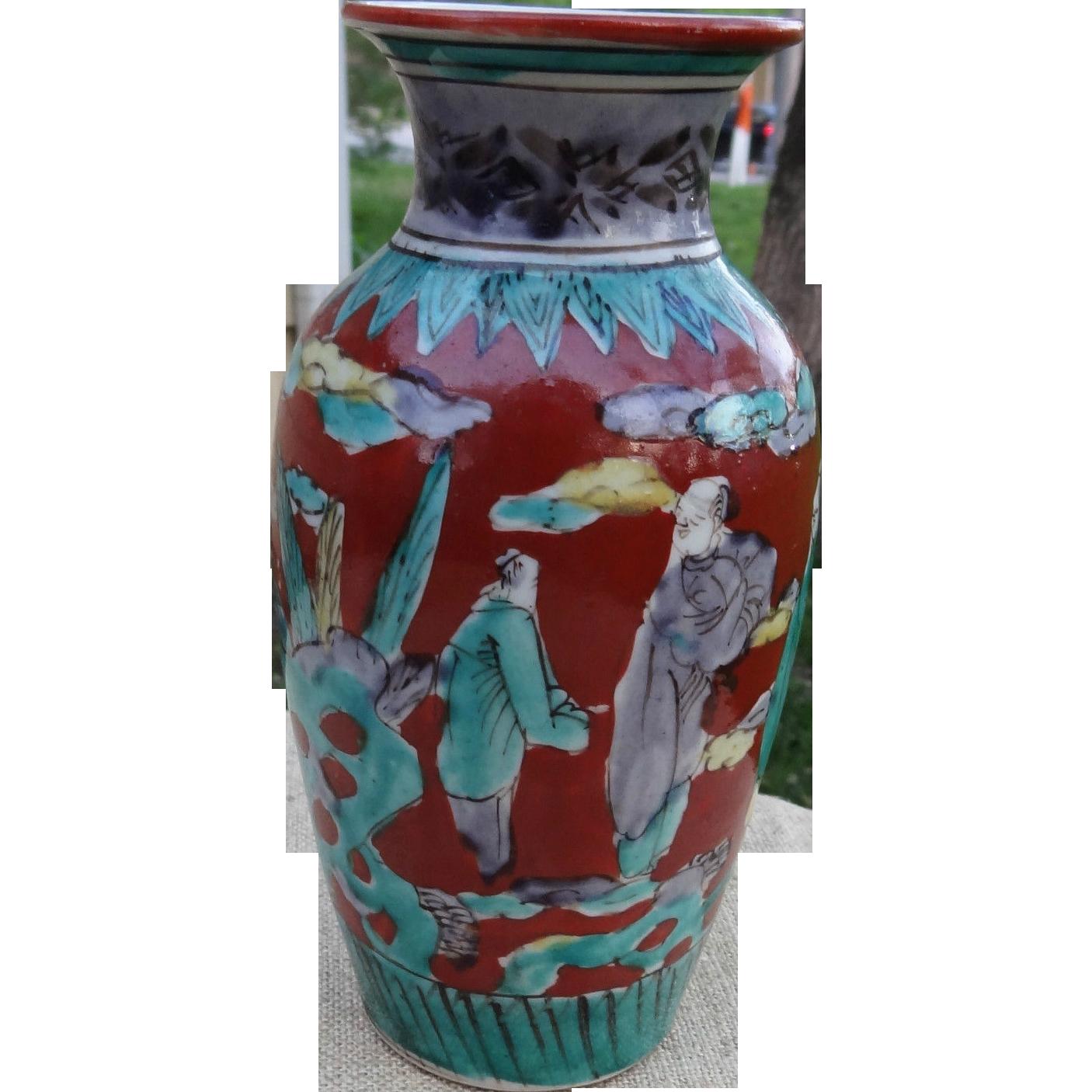Japanese antique kutani porcelain vase in the mokubei style the japanese antique kutani porcelain vase in the mokubei style the many faces of japan ruby lane reviewsmspy