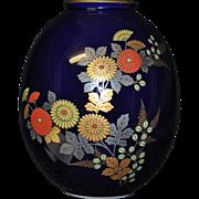 Japanese Koransha Vase Decorated in Polychrome and Gold Kiku or Chrysanthemums on Dark Blue
