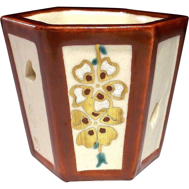 Japanese Banko Ware Pottery Futaoki by Japanese Human Cultural Treasure, Zuizan Kaga III