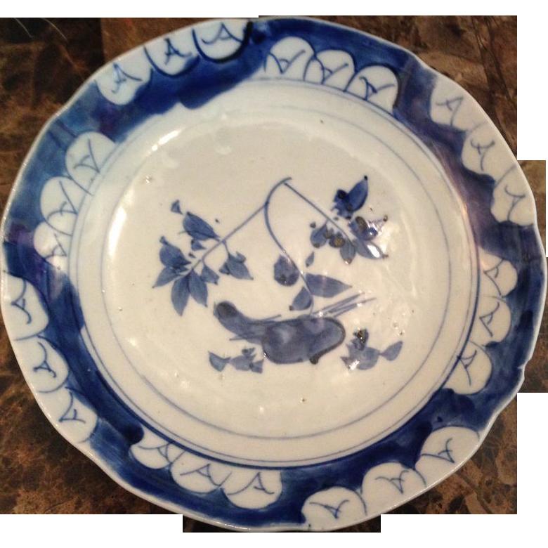 Japanese Antique Edo ko- Imari 伊万里 Blue and White Porcelain Namasu Bowl