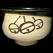 Japanese Contemporary Oribe ware Chawan or Large Tea bowl by Nitten Exhibition Potter, Sokaku Mizuno