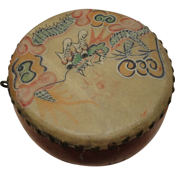Chinese Antique Make an Offer Hand Painted Wood Dragon Toy Drum