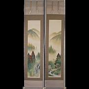 Japanese Kakejiku 掛軸 or Hanging Scroll titled Summer landscape by Famous Artist Shizan Saitou