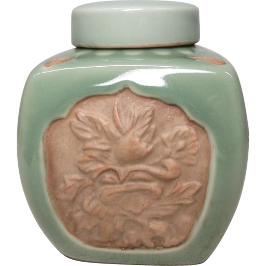 Chinese Vintage Celadon Porcelain Tea Canister with Floral Relief