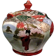 Japanese Antique Geisha Style Moriage Porcelain Tea Jar