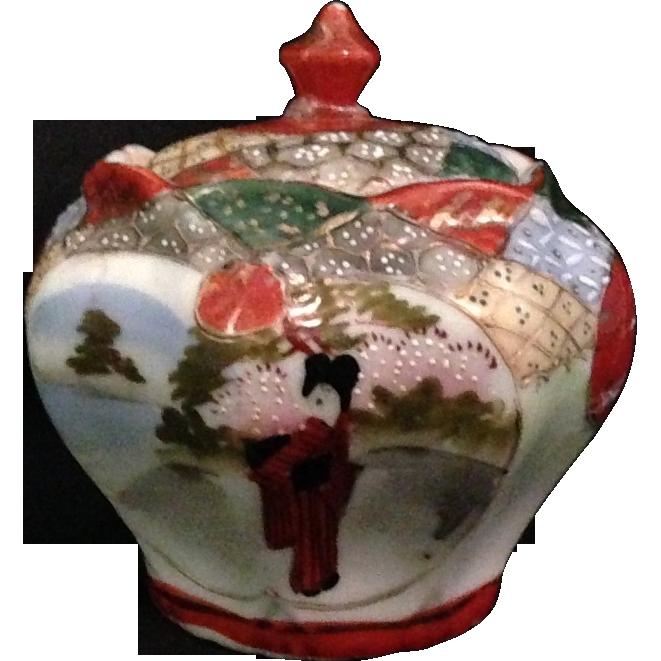Japanese Antique Geisha Style Moriage Porcelain Tea Jar