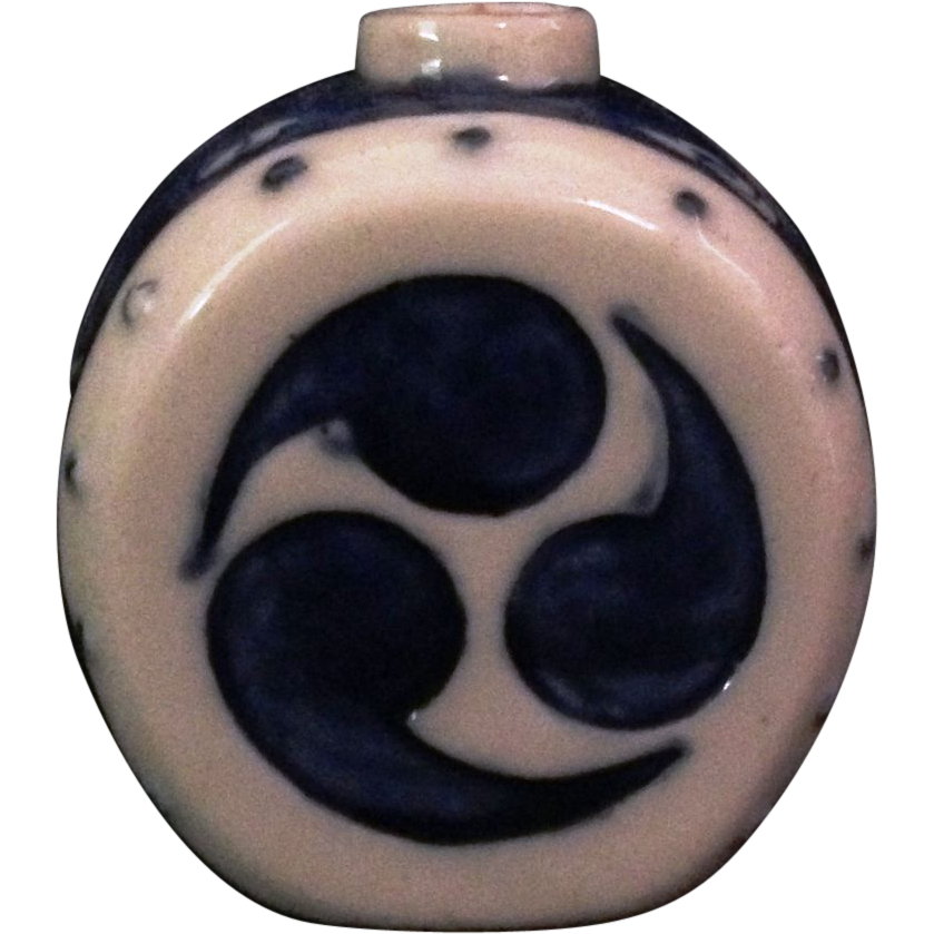 Japanese Antique Seto Ware Porcelain Miniature Drum of a Candle or Incense Holder with Mitsudomoe Motif