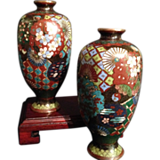 Japanese Antique Pair of  Highly Decorated Cloisonné Vases